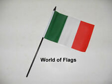 "ITALY SMALL HAND WAVING FLAG 6"" x 4"" Italia Italian Crafts Table Desk Display"
