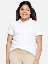 Justice Girls Plus Size School Uniform Polo Shirt Size 14 Plus.. White