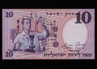 Israel:P-32d,10 Pounds 1958 * Scientist * Brown Serial # * UNC *