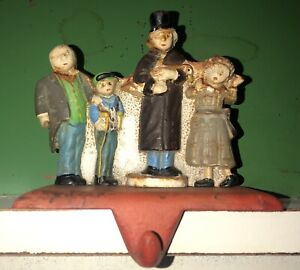 Christmas Carolers Stocking Hanger Cast Iron Fireplace Mantle Hook New Old Stock