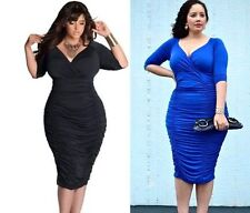 3/4 Sleeve Plus Size Formal Stretch, Bodycon Women's Dresses