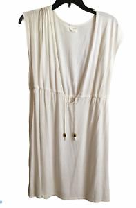 Merona Women's L Sleeveless White Swimwear Coverup Drawstring