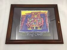 """FRAMED ART PRINT-WOODEN FAME-""""KING CRAB"""" SHANNON O'BRIEN-CRAB ON THRONE W/ SWORD"""