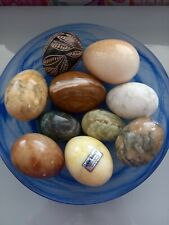 Vintage Italian Alabaster Eggs X 10, different colours and sizes some labelled