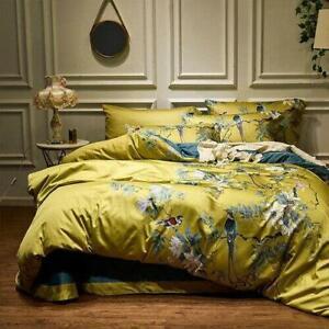 Yellow Silky Egyptian cotton Bedding Set Chinoiserie style Birds Plant Duvet sz