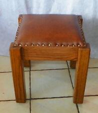 Mission Oak Brown Leather Footstool / Stool  (ST152)