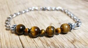 """Hand Crafted All Natural Tiger's Eye & Chain Adj to 7.5"""" Bracelet, Lobster claw"""