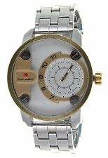 Jumbo Big Round Face Men's Watch with Gold & Finish Metal Link Band Luis Cardini