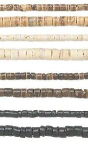 Set of 2, 23 inch Strands Natural Wooden Coconut Shell Heishi Wood Spacer Beads