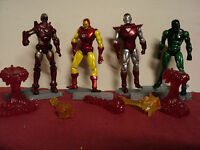 """Iron Man (4) action figures w/accessories 4 """" height lot #329 used"""