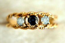Beautiful 14K Solid Gold, Light Blue Spinel and Topaz Ring Size 7