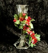 Candlestick Clear Glass Votive Cup Candle & Poinsettia Flower Ring Christmas