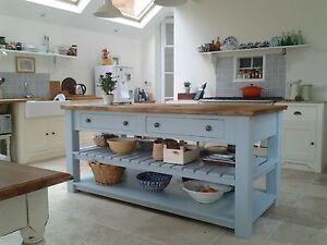 Handmade Rustic 4 Drawer Kitchen Island Unit. Freestanding Kitchen Furniture.