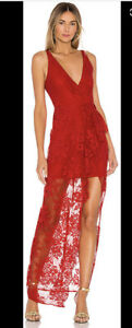 Lovers + Friends Mermaid Ruffle Red Dress Floral Gown Lace New Medium