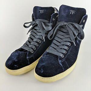 """TOM FORD Dark Blue Velvet High Top """"TF"""" Fashion Sneakers Size Men's 12"""