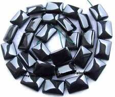 """Faceted Smooth Rectangle AAA Natural Onyx Black Agate Gemstone Beads 15"""""""