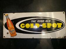 DRINK GOLD SPOT 1950 ORIGINAL VINTAGE PORCELAIN ENAMEL SIGN RARE