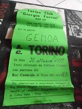VECCHIA LOCANDINA TORINO GENOA DEL TORINO CLUB FERRINI 1977 OTTOBRE