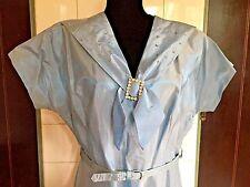 Vintage 1940s 1950s Large Light Blue Taffeta Prong Set Rhinestones Collar Dress