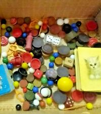 Vintage Game Part Junk Drawer Lot Wooden Tokens Playing Cards Marbles Dice