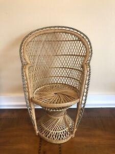 "Mini Peacock Wicker Fan Back Rattan Chair 16"" Doll Plant Stand Boho Hippie Decor"