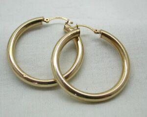 9 carat Gold Pair Of Tubular Hoop Earrings