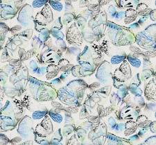 Designers Guild Curtain Fabric Papillons Cobalt 2.5m - Butterfly Design 250cm