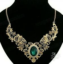 Women's Lady Green Crystal Hollow Out Flower Pattern Choker Bib Necklace