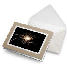 Greetings Card (Biege) - Sparkler Sparks Firework Fun  #2164
