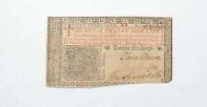 1776 12 Shillings New Jersey Colonial Currency Note - Signatures *0549