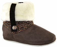 Ladies Womens Coolers Fur Lined Ankle BOOTS Slip on Bootee Slippers Shoes Size Brown M (uk 4/5)
