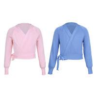 Kids Girls Knit Wrap Sweater Ballet Dance Cardigan Warm-up Gymnastics Costumes
