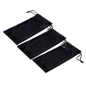 Black Microfiber Pouch Bag Soft Cleaning Case Sunglasses Eyeglasses Glasses