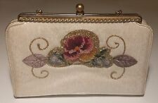 Vintage 1950's 'Sabina of Miami' Floral Tapestry Embroidered Handbag rockabilly