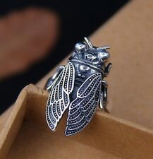 925 Sterling Silver cicada Retro collection ring rings adjustable size S1856
