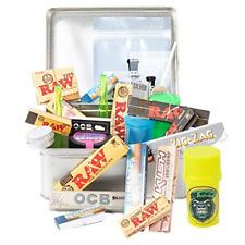 More details for raw smokers rolling cigarette gift tin box set - smoking hamper kit - window lid