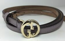 """AUTHENTIC New Gucci($159) GG Buckle Thin Purple Leather Belt #362731, 28""""-32""""NWT"""