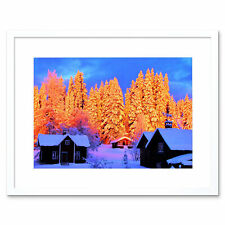 Photo Landscape Winter Scene Snow Forest Pines Chalet Sun Framed Print 12x16""