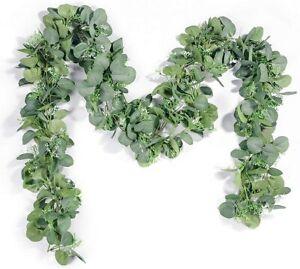 Artificial Seeded Eucalyptus Leaves Garland 6.5 ' Home or Wedding Decor 2 Pcs