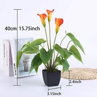 Faux Fake Artificial Potted Indoor Calla Lily Plant Pot Shrub Tree Foliage 40cm