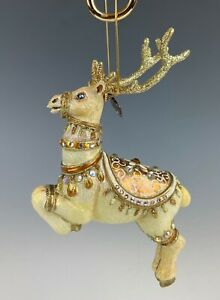 Jay Strongwater Ornament Reindeer Swarovski Crystals New In Box