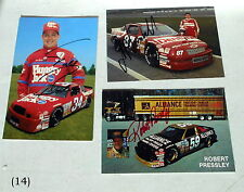 NASCAR SET OF 3 AUTOGRAPHED PICS JOE NEMECHEK ROBERT PRESSLEY TODD BODINE