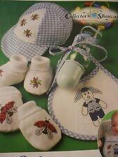 ADORABLE Baby Boy Bunny Nursery Bib OOP Magazine Cross Stitch Pattern (P)