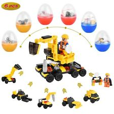 6PCS Easter Eggs, Plastic Eggs Filled LEGO Construction Vehicles, Prefilled