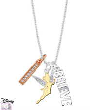 DISNEY DISNEY'S TINKERBELL CHARM CRYSTAL BELIEVE NECKLACE SILVER PLATE 18 TINK