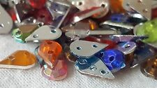 100 teardrop multi-coloured  sew-on glue-on flat back beads stones diamante