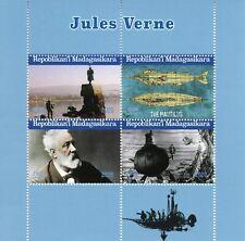 Madagascar Famous People Stamps 2020 CTO Jules Verne Nautilus Ships 4v M/S