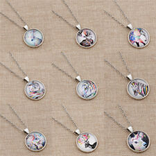 Art Drawing Cabochon Necklace Painted Animals Cat  Deer Bird Chain Jewelry Charm