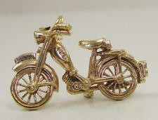 9K Yellow Gold Motorcycle Charm Pendant 3D Spinning Wheels Bike Scooter 1""