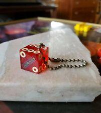 Vintage Casino Dice Harveys Lake Tahoe Game Used Red Keychain